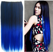 Stepupgirl 60cm Black to Dark Blue Ombre Dip-dye Straight Full Head Clip in Hair Extension with Souvenir Card
