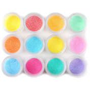 Coscelia 12 Colour Jumbo Size Shiny Glitter Nail Art Tool Kit Acrylic UV Powder Dust