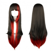 Weeck Anime Lolita Red Black Multicolor Women's Dance Cosplay Wigs