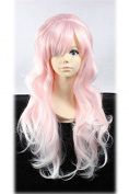 Weeck Long Curly Harajuku Lolita Light Pink Wave Halloween Cosplay Wigs
