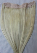 50cm 100% HALO Human Hair Extensions (ONE PIECE NO CLIP) with an adjustable invisible wire (Fishing String)# 60 White Blonde