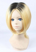 Weeck Anime Attack on Titan Short Golden Black Hair Party Cosplay Wigs