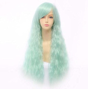 Weeck Long Curly Corn Anime Lolita Wave Blue White Hair Cosplay Wigs