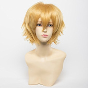Weeck Short Anime Layered Halloween Multicolor Red Hair Cosplay Wigs