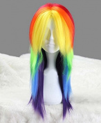 Weeck My Little Pony Rainbow Dash Synthetic Long Straight Ponytail Cosplay Wigs