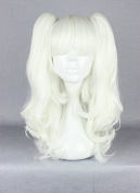 Weeck Long Girl's Wave Lolita Ponytail White Curly Anime Harajuku Cosplay Wigs