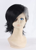 Weeck Anime Short Tokyo Ghouls Hair Curly Black & White Party Cosplay Wigs