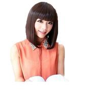 Cute Girl Full Flat Bangs Medium Long Straight Wig BOBO Cosplay Party Full Wigs Hair