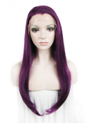 Lace Wig Long Straight Purple Heat Resistant Synthetic Lace Front Wig
