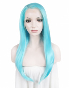 Lace Wig Long Straight Heat Resistant Synthetic Lace Front Wig Light Blue