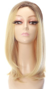 Rabbitgoo High Quality Medium Length Hair Light Gold Straight Full Blonde Wig with Wig Cap for Women