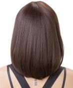 Rabbitgoo High Quality Glueless Medium Length Wig Hair Dark Brown Straight Cosplay Full Wig with Wig Cap for Women