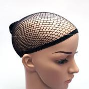 Beauties Factory Hair Wig Net Cap Open End Stretchable Elastic Mesh Fishcap Weaving Snood x 2 (Black