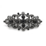 Bridal Hair Barrette Black Plated Romancing Heart Rhinestone Crystal Small 6.4cm