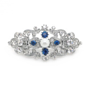 Bridal Hair Barrette Something Blue Crystal Simulated Pearl Romancing Heart Rhinestone Small 6.4cm