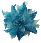 WD2U Dotted Lily Hair Clip/Brooch with Feathers Turquoise 1086