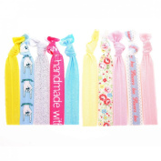 "No Crease Hair Ties Elastics Ponytail Holder (Solids, Prints & Glitter) - 10 Pack ""Baby Colours"""