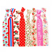 "No Crease Hair Ties Elastics Ponytail Holders Mix Prints - 8 Pack ""Red Floral"""