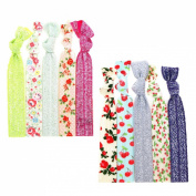 "No Crease Hair Ties Elastics Ponytail Holders (Prints & Glitters) - 10 Pack ""Shimmering Floral"""