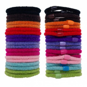 Ouchless Hair Elastics Bands Hair Ties Ponytail Holders Mix Colours - 20 Pack