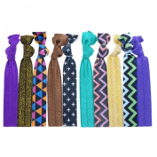 "No Crease Hair Ties Elastics Ponytail Holder (Solids, Prints & Glitter) - 10 Pack ""Green Purple Chevron"""
