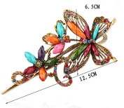 Ecloud ShopUS® alloy Bronze Crystal Jewellery Butterfly With Flower Hair Clip