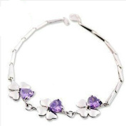 Korean Popular 925 Sterling Silver Crystal Rhinestone Four-leaf clover Chain Bracelet Bangle-Silver for Women/Girls