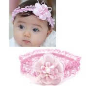 1pc Baby Girl Infant Lace Crochet Pink Flower Style Headband Hair Decoration
