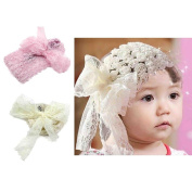 1pc Pink Adorable Baby Girl Toddler Lace Bowknot Rose Flower Headband Headwear Decor Accessory