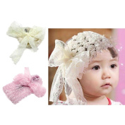 1pc Yellow Adorable Baby Girl Toddler Lace Bowknot Rose Flower Headband Headwear Decor Accessory