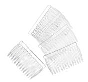 14 Clear Plain plastic Smooth Hair Clips / Combs 7cm LONG.