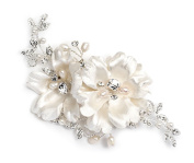 USABride Ivory Double Flower Bridal Hair Comb with Simulated Pearls and Rhinestones 2266