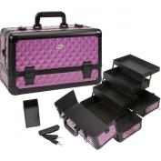 Seya Beauty Pro Aluminium Makeup Train Case w/ Brush Holder - Purple Diamond