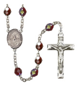 Silver Plate Rosary features 7mm Garnet Lock Link Aurora Borealis beads. The Crucifix measures 1 3/4 x 1. The centrepiece features a Divino Nino medal.