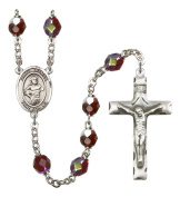 Silver Plate Rosary features 7mm Garnet Lock Link Aurora Borealis beads. The Crucifix measures 1 3/4 x 1. The centrepiece features a St. Maron medal.