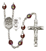 Silver Plate Rosary features 7mm Garnet Lock Link Aurora Borealis beads. The Crucifix measures 1 3/4 x 1. The centrepiece features a St. Christopher/Gymnastics medal.