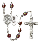 Silver Plate Rosary features 7mm Garnet Lock Link Aurora Borealis beads. The Crucifix measures 1 3/4 x 1. The centrepiece features a St. Christopher/Tennis medal.