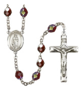 Silver Plate Rosary features 7mm Garnet Lock Link Aurora Borealis beads. The Crucifix measures 1 3/4 x 1. The centrepiece features a St. Peter Chanel medal.