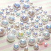 400 pcs 2mm -10mm White resin faux round Shiny Pearls Flatback Mix Size Cabochon *ship with FREE GIFT from GreatDeal68*