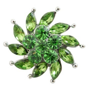 Chunk Snap Charm Green Swirl Crystals 22mm