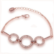 Maxmaxi 18K Gold Overlay Fashion Round Bracelet with Rhinestone