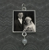 Wedding Bouquet Photo Charm Silver with Pearl Drop