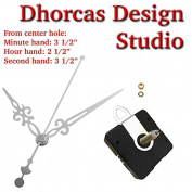 Dhorcas (#012) 1.9cm Threaded Motor and Silver 8.9cm Hands and Hanger, Quartz Clock Movement Kit for Replacement