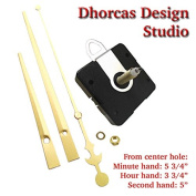 Dhorcas (#02) 1.9cm Threaded Motor and Gold 15cm Hands and Hanger, Quartz Clock Movement Kit for Replacement