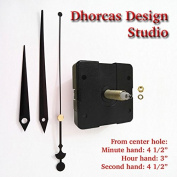 Dhorcas (#06) 1.9cm Threaded Motor and Black 11cm Hands, Quartz Clock Movement Kit for Replacement