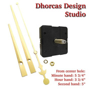 Dhorcas (#02) 1.9cm Threaded Motor and Gold 15cm Hands, Quartz Clock Movement Kit for Replacement