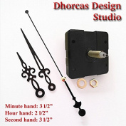 Dhorcas (#07) 1.9cm Threaded Motor and Black 8.9cm Hands, Quartz Clock Movement Kit for Replacement