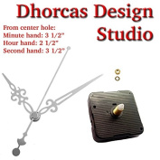 Dhorcas (#012) 1.3cm Threaded Motor and Silver 8.9cm Hands, Quartz Clock Movement Kit for Replacement