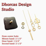 Dhorcas (#10) 1.3cm Threaded Motor and Gold 6.4cm Hands, Quartz Clock Movement Kit for Replacement