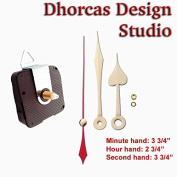 Dhorcas (#13) 1.3cm Threaded Motor and Gold 9.5cm Hands and Hanger, Quartz Clock Movement Kit for Replacement